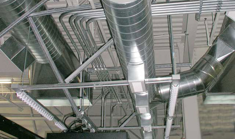 The view of exposed industrial flex ducts