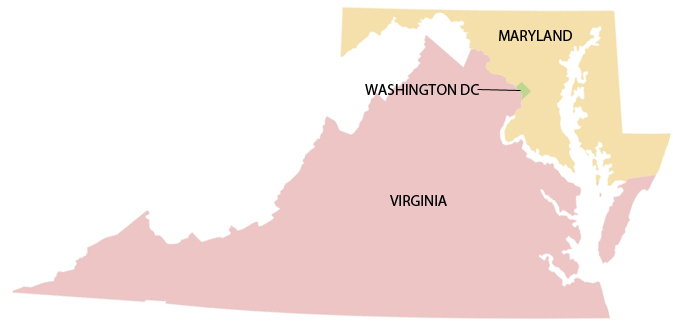A map pointing towards Washington DC as well as showing Virginia and Maryland